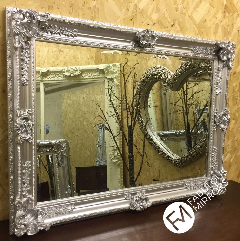 Lg Bright Silver Chrome Ornate Decorative Wall Mirror